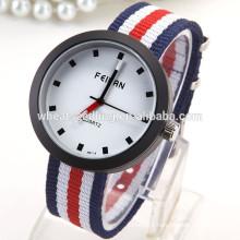 Fabric strap stripe elegant sport watch