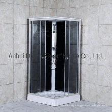Sliding Open Door Clear Glass Shower Cabin with White Back Glass