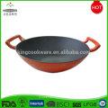 Professional enamel indian cast iron wok