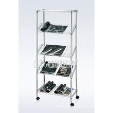 Bricolaje 5 grados inclinados de acero de cromo revista de alambre / libro titular del estante de pantalla (CJ-B1196)