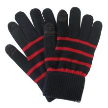 Homens moda listra de malha de inverno quente luvas de tela de toque (yky6663)