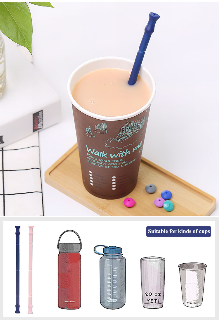 Portable reusable silicone straws