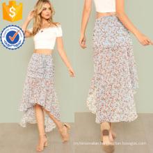 Ruched Calico Print Dip Hem Skirt Manufacture Wholesale Fashion Women Apparel (TA3087S)