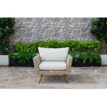 Diseño de gama alta fabuloso Sofá de seda sintético de la rota de Poly con las altas piernas de madera para el jardín al aire libre o los muebles de mimbre de la sala de estar