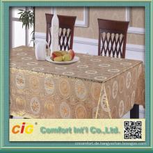 China Hochwertige goldene PVC-Tischdecke