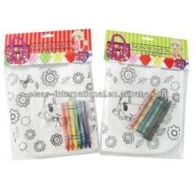 niños DIY bolsa de pintura no tejida con crayón