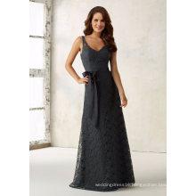 Lace Sash Gray Sheath Evening Bridesmaid Dress for Bridal Wedding