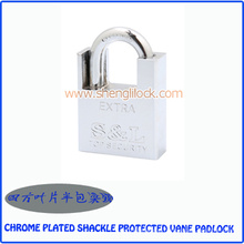 Top Quality Chrome Plated Shackle Protected Vane Padlock