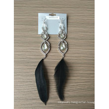 Multi Layer Gem Earrings with Black Feathers