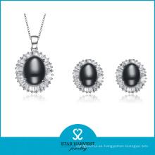 Encantador conjunto de joyas de plata noble con diseño personalizado (J-0143)