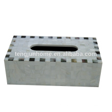 Chinese freshwater shell and black shell mixed rectangle tissue box