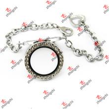 30mm cristal redondo lockets pulseira de corrente com encantos do coração (crl50925)