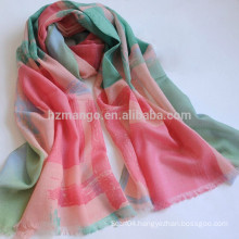 Long style delicate print scarf 100% wool