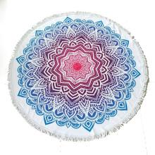 Toalha de praia redonda microfibra impressa feito sob encomenda com franja do tassel