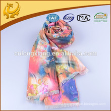 Classical Various Colors Woven 100% Viscose Pashmina Wrap Shawls,Instant Rose Printed Shawl