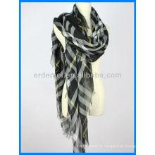 Echarpe de printemps, écharpe en polyester, écharpe teintée de fil