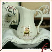 Горячий дешевый фарфор керамический кувшин воды цветка с bowl