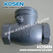 Válvula de retenção de aço inoxidável com rosca 200lb