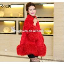 Wome elegante abrigo de piel borlas abrigo primavera otoño
