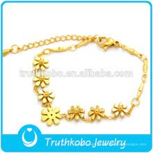 Indian Gold Chain Designs 18k oro elástico 316L pulseras de moda de acero inoxidable 2014 con flores lindas de la serie