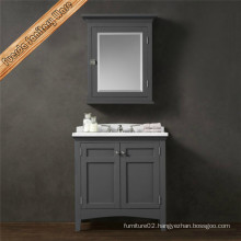 Free Standing Grey Color Marble Rectangle Sink Solid Wood Bathroom Vanities