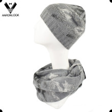 Ladies Trendy Jacquard Houndstooth Infinity Scarf and Beanie