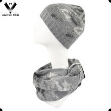 Bufanda y gorrita tejida de moda de las señoras Jacquard Houndstooth Infinity