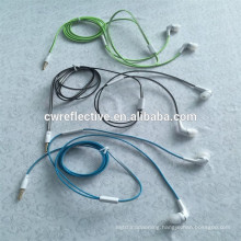Luminous type reflective headphones line / glow in the dark ear hanging headphone cable Promotional