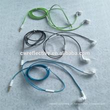 Luminoso tipo de linha de fones de ouvido reflexivo / brilho no ouvido escuro pendurado fone de ouvido cabo promocional