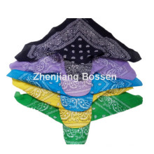 Customized Logo Printed Paisley Cotton UV Protection Bandana Cap