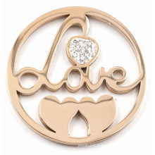 Rose Gold Love et Hearts Coin Plate pour Memory Lockets