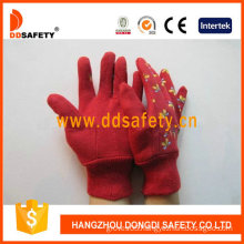 Red Cotton Garden Gloves. Printing Butterfly Back (DGB211)