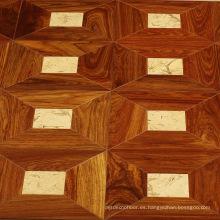 Piso de parquet de los muebles de la madera de Rose con la incrustación pequeña del jade