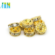All Size Gold Crystal Clear Spacer Beads Diamond Rondelle Crystal Spacer Beads For Bracelets Jewelry Making IA0102