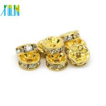 Todo o Tamanho De Cristal De Ouro Claro Spacer Beads Diamante Rondelle De Cristal Spacer Beads Para Pulseiras Jóias Fazendo IA0102