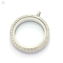 30 мм матовое серебро из нержавеющей стали 316L круглый хрусталя магнитный плавающий подвески медальон ожерелье для мамы