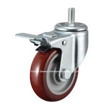 Caster Medium Duty Screw W/Brake Type Polyurethane Caster