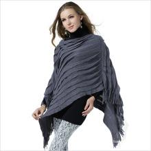 Poncho de xaile de franjas de malha de moda senhora acrílico (yky4156)