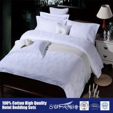 100% algodón 60 S jacquard de satén Blanco Hotel sábanas Juego de cama de lujo