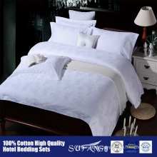 100%Cotton 60S satin jacquard White Hotel Bed Sheets Luxury Bedding Sets