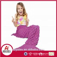 novo design promocional malha acrílico sereia cauda cobertor