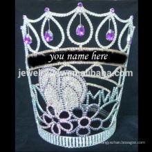 Las tiaras de la manera pueden escribir su nombre corona de cristal grande grande del desfile para la belleza