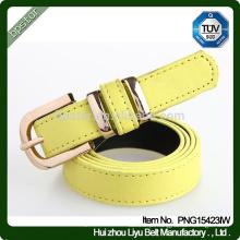 Moda Lady Casual Cinto de couro genuíno, Mulheres Cintura de cintura de cor amarela para o vestido