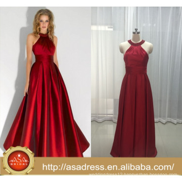 ASEY08 ASA Real Photos Fashion Satin Red Rinestones Halter Formal Party gowns Evening Dresses