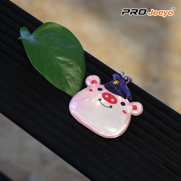 Reflective Safety Pig Shape Keychain Kids Pendant