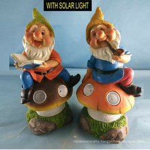 Dwarf Sitting on Mushroom with Solar Light Polyresin Garden Decoration