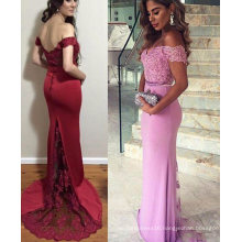 Sexy Red off Shoulder Lace Top Evening Dresses Party Dresses