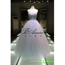 Vestido sin tirantes de lujo De Mariage 2016 applique vestido de novia vestido de novia vestido de fiesta de noche