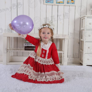 Boutique Fall Girls Red Christmas Dress