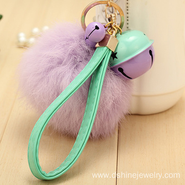 Customized Rabbit Fur Ball Charm Keychain With Bell Pendant